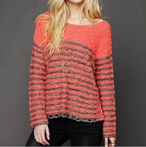 Free People Popcorn Knit Striped Crochet Sweater